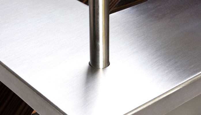 Macasser Table. Brushed Stainless Steel