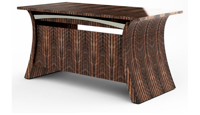 Bent And Tapered Macassar Ebony Ends Enclose The Hidden Drawer. Front  Privacy Panel Also In Macassar Ebony. Brushed Stainless Steels Accents The  Front And ...